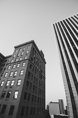 (wickedmartini) Tags: city urban blackandwhite bw distortion reflection monochrome architecture buildings photography downtown monochromatic tall rochesterny wideanglelens 1835mmf3545g michaeldavignon nikond610