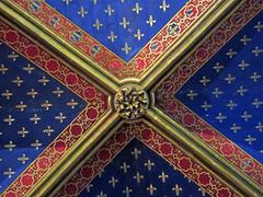 Painted ceiling, lower level of Sainte-Chapelle, Paris (Monceau) Tags: painted ceiling ribs intersection fleurdelis saintechapelle