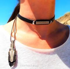 beaded choker with seed beads, leather, and feathers (Ezartesa) Tags: choker beadedchoker darkbrownchoker feathersandleathernecklace