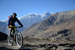 (Anonymous Hermit) Tags: blue nepal sky snow cold race training trek cycling high day exercise altitude air adventure clear chilly thin himalaya uphill capped epic annapurna rugged barron muktinath