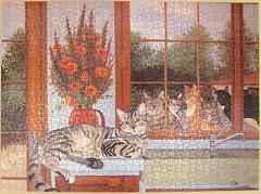 Die Katzen - Les Chats (Madeleine Marcoux) (Leonisha) Tags: cats window cat chats fenster puzzle jigsawpuzzle