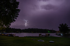 Lightning on the lake (Judd515) Tags: longexposure nightphotography summer sky lake storm reflection nature rural outside outdoors scary nikon midwest purple iowa montezuma thunderstorm serene nightsky lightning 11mm d7000