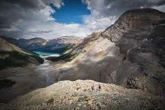 Moraine Descent (Darren Umbsaar) Tags: park light sunset sky sun sunlight mountain lake canada mountains water rock clouds river rockies evening stream afternoon cloudy path rocky canadian hike mount trail national alberta rush banff cauldron moraine caldron braided peyto