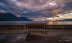 Empty bench at Lake Geneva (Toon E) Tags: longexposure sunset lake mountains switzerland evening sony rays villeneuve lakegeneva montreux lacleman 2016 tonika a6000 tonikaatx116pro1116f28