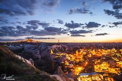 Goreme, Cappadocia | Turkey (bucketpong) Tags: rock night turkey landscape town long exposure dusk cappadocia goreme uchisar