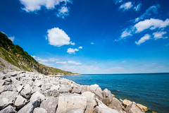 Secret Beach Durlston - July 2016 (2 of 6).jpg (philipc) Tags: blue sea summer sky clouds rocks secretbeach cliffs dorset swanage durlston