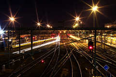 Train lights (biancaaalberts) Tags: road city red black station yellow skyline night train lights citylights midnight zwolle zwollywood diafragma sluitertijd