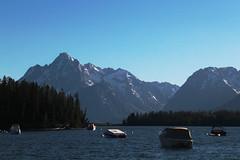 Leeks Marina (RPahre) Tags: sunset lake mountains marina boat grandtetons grandteton grandtetonnationalpark jacksonlake leeksmarina