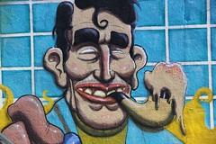 Pipe smoker street art, Poble Nou, Barcelona (nick taz) Tags: barcelona streetart face urbanart poblenou pipesmoker