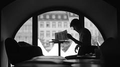 At lot of work... (Caropaulus) Tags: blackwhite cafe candid coffee homme job man minolta noirblanc papers rokkor silhouette starbucks window work