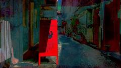 Old & New - Grey town 7 (Bamboo Barnes - Artist.Com) Tags: street blue light shadow red sign japan painting photo alley vivid osaka minami doguyasuji nipponbashi greytown bamboobarnes