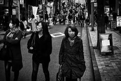 Trio (www.danbouteiller.com) Tags: japan japon japanese japonais people women woman femmes tokyo iidabashi city ville urban photo de rue photoderue street streetscene streetlife streets streetshot canon canon5d es eos 5dmk2 5d 5d2 5dm2 50mm 50mm14 monochrome monochromatic black white noir blanc bw nb noiretblanc noirblanc blackandwhite blackwhite
