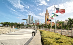 Freedom Tower, Downtown Miami - Florida (Andrea Moscato) Tags: street city blue trees light shadow sky usa white green art architecture clouds america skyscraper buildings town us downtown nuvole day boulevard cityscape view arte unitedstates walk flag vivid palm architect cielo vista architettura citt statiuniti andreamoscato