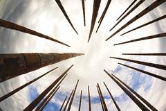 Wind Chime to the Sky (www.digicrea.be - Analog & Open Source Photography) Tags: blue light summer sky art water exposure day bright pentax fisheye 8mm vlissingen k3 samyang pentaxlife pentaxart