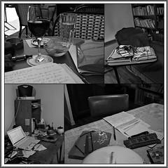 La table de travail est un monde (melina1965) Tags: blackandwhite bw june collage juin ledefrance noiretblanc mosaic collages mosaics crteil mosaque mosaques valdemarne 2016 maisonsalfort