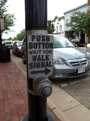 Push Button Wait For Walk Signal old school metal sign in Mt Horeb (benchilada) Tags: old school sign metal for mt walk button wait push signal horeb