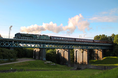 Duchess of Sutherland (ianbonnell) Tags: uk bridge england train transport engine railway steam sthelens steamtrain merseyside oldeworlde duchessofsutherland carrmill carrmilldam
