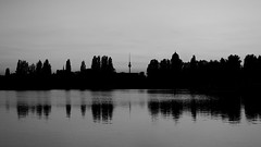 berlin (kadircelep) Tags: berlin streetphotography seascape waterscape spree monochrome ferns fernsehturm sunset reflection