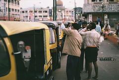 Rickshaw drivers (fisher.victor) Tags: city travel india men film 35mm market taxi driver rickshaw mysore praktica mtl5