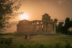 Paestum Sunset (nick88msn) Tags: light sunset sky italy abstract building public june horizontal museum clouds standing landscape greek temple teatro soft theater italia view outdoor live stage structure temples paestum salerno magna cilento 2016 capaccio graecia