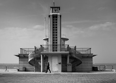 Alone (Mathay Jean-Luc) Tags: dunkerque nordpasdecalaispicardie france flandre flanders baywatch tower bw alone people street sea sky vacation monument blackandwhite monochrome noiretblanc canon eos 1100d beach dunkirk bnw outside digital ef2880mmf3556 blackwhitephotos blackwhite