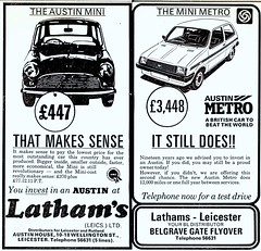 1982 ADVERT MINI TO METRO - LATHAMS OF BELGRAVE GATE LEICESTER (Midlands Vehicle Photographer.) Tags: 1982 gate metro leicester mini advert to belgrave lathams of