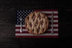As American As Dessert (HacksawGeneDuggan) Tags: summer stilllife food america canon dessert flag americanflag diner ocf fourthofjuly americana independenceday lattice applepie laborday americandiner strobist setupshots photogeneic canon40d eugenecampbell