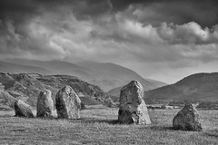 Ancient (Future-Echoes) Tags: old blackandwhite cloud mountains grass dof bokeh stones depthoffield cumbria castlerigg 2014 thelakedistrict castleriggstonecircle