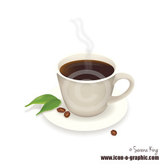 Coffee Cup Vector Graphic (design.king73) Tags: white black cup coffee leaves illustration restaurant design cafe artwork graphic drink coffeecup plate diner bean steam round clipart mug illustrator dine vector oval saucer lineart greenleaf coffeebeans eps