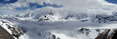 Panorama shot of the Jungfrau and Monch (Gill'sphotos) Tags: mountain switzerland eiger jungfrau monch schilthorn