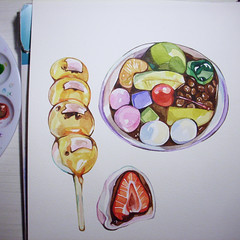 Work in progress! (Laura Manfre) Tags: food illustration japanese workinprogress dango watercolours ichigo daifuku anmitsu mitarashi