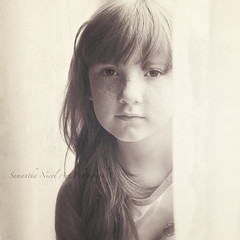 Mirren x (Samantha Nicol Art Photography) Tags: light portrait cute girl sepia square mono natural curtains freckles samantha nicol florabella bestportraitsaoi