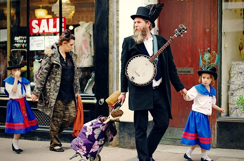 Folk musician with his family