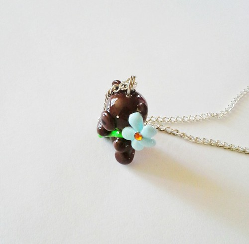 Blue Flower Bear Necklace