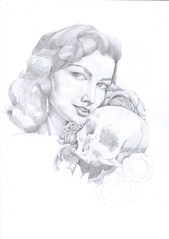 A girl with a skull (Katya_Bariudin) Tags: girl rose pencil skull sketch papper