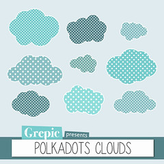 "Cloud clipart: ""POLKADOTS CLOUDS"" polkadot pattern cloud clip art for scrapbooking, card making, invites (workyourart) Tags: sky cloud art clouds digital scrapbooking images clip polkadots clipart patterned"