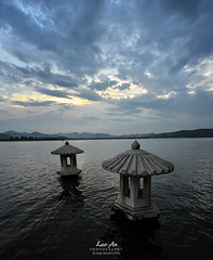 West Lake - Stormy (June 2013) (Lao An (PhotonMix)) Tags: china sky lake vertical clouds landscape nikon traditional stormy westlake hangzhou buoys xihu d800 zhejiang photonmix laoanphotography