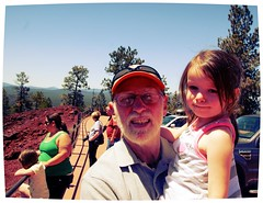 Larry and Mady at Lava Butte (pete4ducks) Tags: travel vacation oregon centraloregon emily larry pete cropped aviary evie ventura madelyn mady lavabutte cascademountains newberrycraternationalmonument peteliedtke pete4ucks