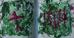 From the Deadwood / Totholz 3 - My Book of Imprints (hedbavny) Tags: vienna wien wood shadow abstract green art texture forest paper buch austria book sterreich diptych ast decay kunst magenta wiese kreuz naturism page abstraction grn holz papier wald schatten deadwood imprint punkt abstrakt quadrat seite zerbrochen diptychon verfall artistjournal strich textur abstraktion lobau alluvialforest maigrn totholz naturismus doppelseite donauauen auwald aufgeschlagen pasts nationalparkdonauauen texturepaste hedbavny druntinderlobau linoldruckfarbe ingridhedbavny impressiomybookofimprints texturpaste