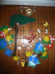 art (rowchester) Tags: wood shells flower tree bells garden artwork plastic homemade button ricoh caplio gx8
