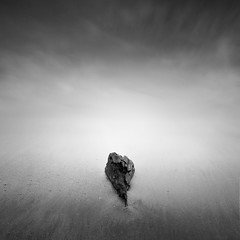 Driftwood (benjeev) Tags: ocean wood sea white seascape black beach monochrome square long exposure minimal seamless nohorizon