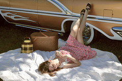 """Nikki Bee and our 1956 Watson styled Oldsmobile. • <a style=""""font-size:0.8em;"""" href=""""http://www.flickr.com/photos/85572005@N00/10031127325/"""" target=""""_blank"""">View on Flickr</a>"""