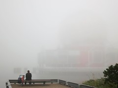 Science World is out there somewhere... (Ruth and Dave) Tags: man building weather bike bicyc