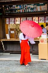 Mysterious Kimono Lady under a red Wagasa (markbernabe) Tags: red japan kamakura parasol kimono hachimangu