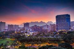 Waikiki Sunrise (eiznekrs) Tags: morning building clouds sunrise hawaii waikiki adobephotoshopexpress waikīkīhawaiʻi