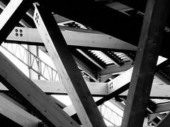 roof abstract (Harry Halibut) Tags: street new wood roof bw abstract blancoynegro branco blackwhite noiretblanc sheffield markets preto posts zwart wit weiss bianco blanc nero allrightsreserved timbers supports eyre noire laminated glulam themoor schwatz anglesanglesangles contrastbysoftwarelaziness imagesofsheffield 2013andrewpettigrew sheff1304077047