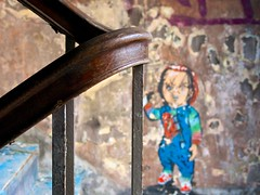 Bannister (Maggie's Camera) Tags: old abandoned rotting graffiti decay demolition staircase peelingpaint bannister