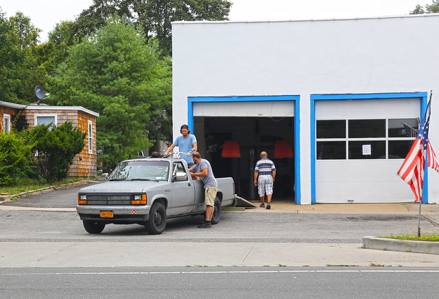 ny truck grey chopper gray pickup longisland dude gasstation harley harleydavidson dodge 1991 primer hampton dakota