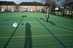One-a-side (James_2nd) Tags: uk london lines sunshine football fuji shadows soccer 18mm xpro1
