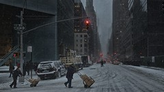 Nevermind the weather (Jose M Coll) Tags: nyc red snow building lights manhattan lexington working chrysler lex 53rd
